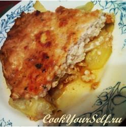 Запеканка из куриного филе ,свежей капусты и кабачков