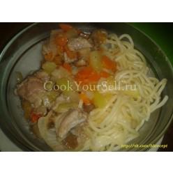 Гарнир с грибами и мясом