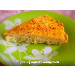 Пирог из нута с капустой